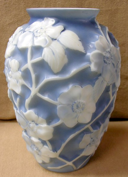 A Large Phoenix Glass Vase Blue And White Floral