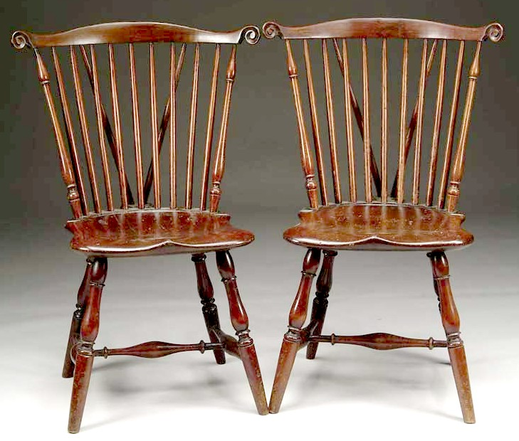 Merveilleux A Pair Of Brace Back Windsor Fan Back Side Chairs. Each With A A  Nine Spindle Back, Carved Ears And Saddle Seat