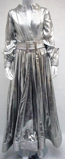 Donald Brooks silver lame jumpsuit, quilted trim, wide leg